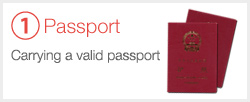 ①Carrying a valid passport