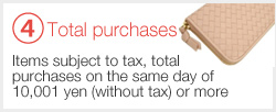 ④ Items subject to tax, total purchases on the same day of 10,001 yen (without tax) or more